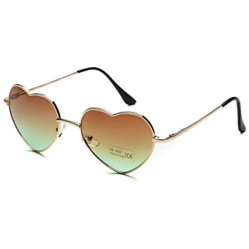 Dollger Heart Sunglasses for Women Cute Mirrored Sunglasses Gold Thin Metal Frame Brown Lens