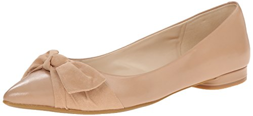 Nine West Womens Ohreally Leather Ballet Flat Light NaturalLight Natural 6.5 M US