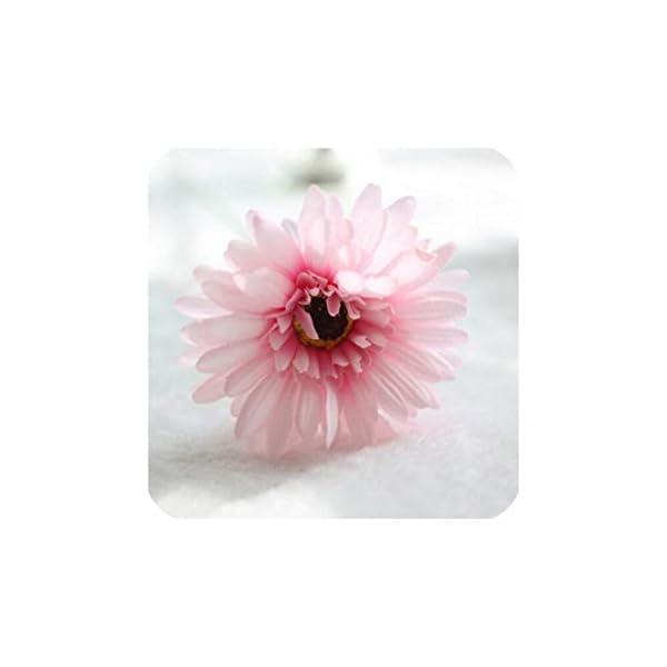 1Pcs 23 Colors 55Cm Cutest Artificial Silk Gerbera Daisy Flowers Leaf Colorful Gerbera Bouquets for Home Party Favors Decors,Light Pink