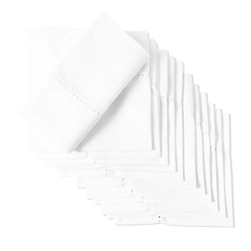 (White Buffet Napkins - Cotton Restaurant Napkins - White Hemstitched - Cloth Napkins - Organic Cotton Napkins - Cotton Hemstitch Napkins - Tea Party Cotton Napkins - Square Napkin Set of 12 (10 X 10))