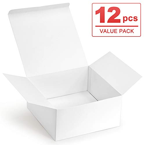 ValBox Premium Gift Boxes 12 Pack 8 x 8 x 4 Whie Paper Gift Boxes with Lids for Gifts Crafting Cupcake Boxes Easy Assemble Boxes