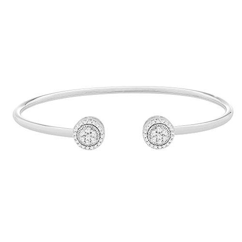 Cut Diamond Wire - Brilliant Designers 1/4 CTTW Diamond (IJ/I3) Open Wire Bangle Set In Sterling Silver 7