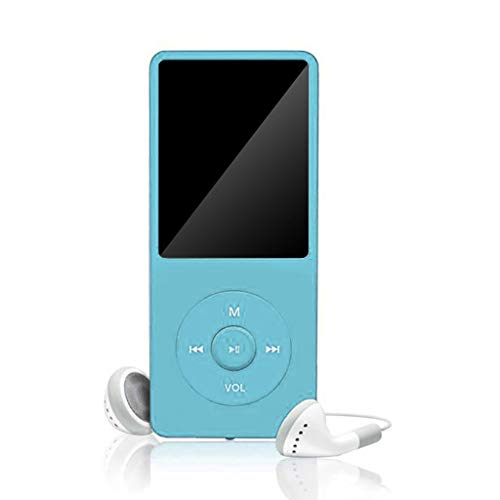 Basde MP3 Player, Ultra Slim Music Player, FM Radio with Headphones, Lossless Music Player, Voice Recorder, Touch Button Sound Audio Player, Support up to 128GB (Sky Blue)