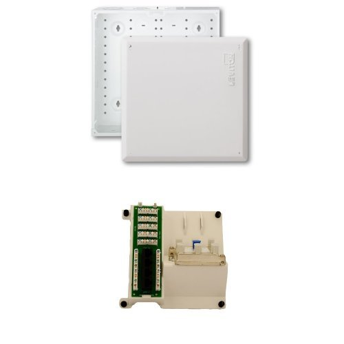 (1 x 4 Combo Bridged Phone and Data Board and 6-way Video Splitter with 14-Inch Structured Media Enclosure and Flush Mount Cover, White)