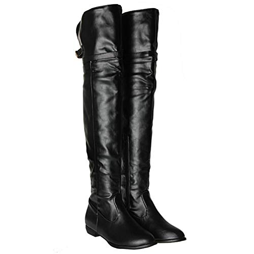 (Welcometoo Ladies Autumn Winter Knight Sexy PU Leather Long Boots Big Size Over Knee Thigh High Boots Women Shoes Warm Lining Botas New,Black,7.5)