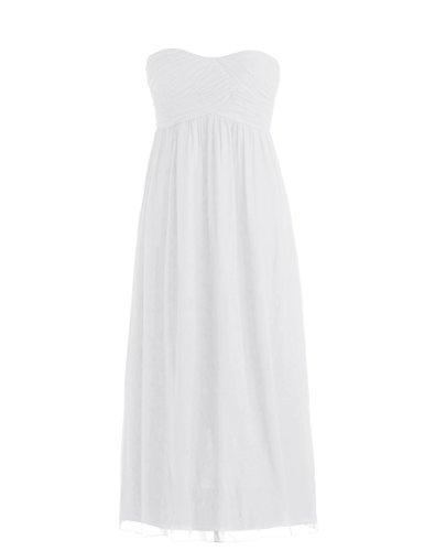 Dressystar Robe de demoiselle d'honneur/de soirée Simple, en Mousseline Taille 44 Blanc
