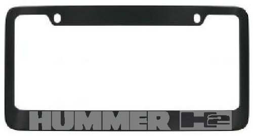 Hummer H2 Black License Plate Frame Silver Lettering with 2 free caps