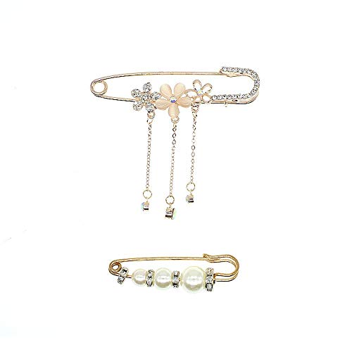- 2 Pieces Vintage Flower Brooch Enamel Crystal Swan Pin Pearl Big Safety Pins Brooches for Women Girls Jewelry Accessories Clothing Scarves Shawl Buttons for Costume (5 Petals Flower +Pearl Style)