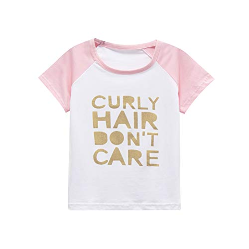 Toddler Baby Girls Boys Raglan Tees for Short Sleeve Cotton T-Shirt Baseball Jesey Curly Hair Dont Care Pink