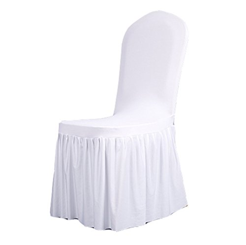 TEERFU 2 x Removable Stretch Dining/Parsons Chair Long Skirt Slipcover Protector, Super Fit Pleated Banquet Chair Seat Cover for Hotel and Wedding Ceremony, Washable ()