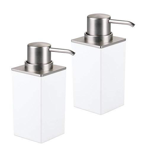 mDesign Modern Square Plastic Refillable Soap Dispenser Pump Bottle for Bathroom Vanity Countertop, Kitchen Sink - Holds Hand Soap, Dish Soap, Hand Sanitizer, Essential Oils - 2 Pack - White/Brushed