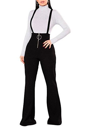 Dreamparis Womens Bib Overalls High Waist Stretch Bootcut Flare Bell Bottom Suspender Pants Trousers Black L