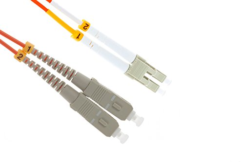 LC to SC Multimode Duplex 62.5/125 OM1 Fiber Patch Cable, 3 Meters, Lifetime Wty ()