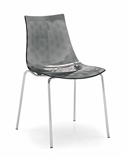 Connubia Ice Chair - Metal Stained Chromed Frame - Transparent Smoke Grey - Chair Metal Calligaris