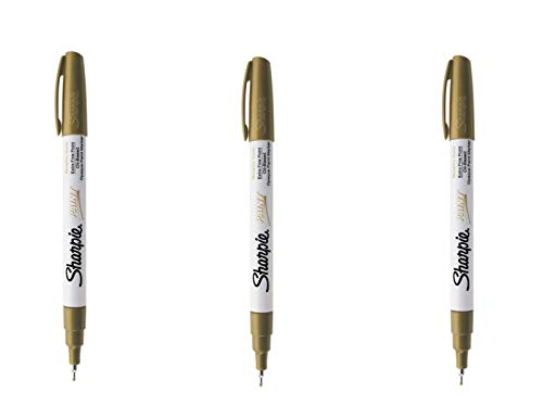 Sharpie Oil-Based Paint Marker, Extra Fine Point, Gold; Works On Virtually Any Surface - Metal, Pottery, Wood, Rubber, Glass, Plastic, Stone, and More; Pack of 3 - Gold Permanent Pen