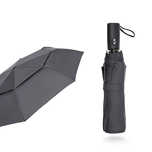 Free Walker 10 Ribs 45In Automatic Folding Umbrella Double Canopy Rain & Wind Resistant Windproof Waterproof UV Protection Sturdy Portable Golf Umbrella Men Women(Black)