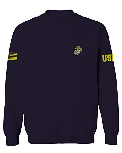 Marine Corps Seal Logo USMC Military American Flag Soldier Men's Crewneck Sweatshirt (Navy X-Large)