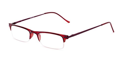 Readers.com Fully Magnified Reading Glasses: The Bishop, Half Frame Reader with Metal and Plastic Frame for Women and Men - Red, 1.50