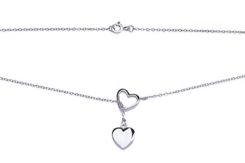 New Silver Rhodium Plated Lariat Y Necklace with Bamboo Jewelry Box for Women Tarnish Resistant Heart Necklace ()