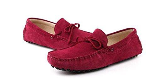 Minitoo homme nouveau Nœud en daim Conduite Mocassins Penny Chaussures bateau - Rouge - rouge vin,