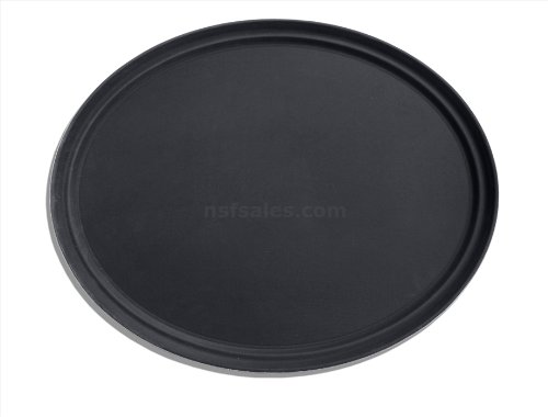 New Star Foodservice 25538 Non-Slip Tray, Plastic, Rubber Lined, Oval, 22 x 27 inch, Black, Pack of 6