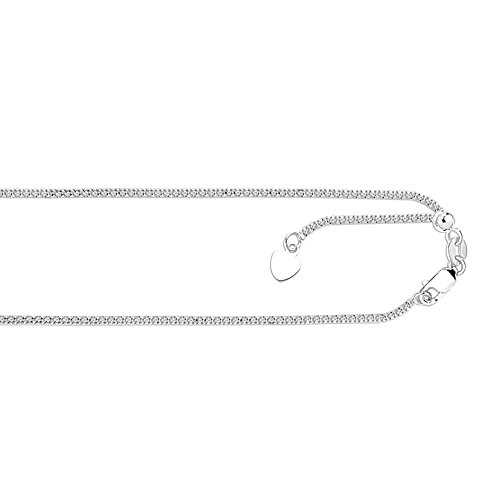 MCS Jewelry 14 Karat Rose, White OR Yellow Gold Bright-Cut Adjustable Popcorn Chain Small Heart Charm (White-Gold)
