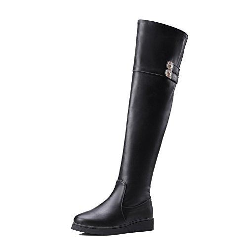 BalaMasa Womens Solid Low-Heel Zipper Flatform Heighten Inside Urethane Boots ABL09852 Black j6dVu2jK