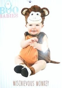 (Boo Babies Halloween Costume Mischievous Monkey Brown Sz 0-9 Months 4)