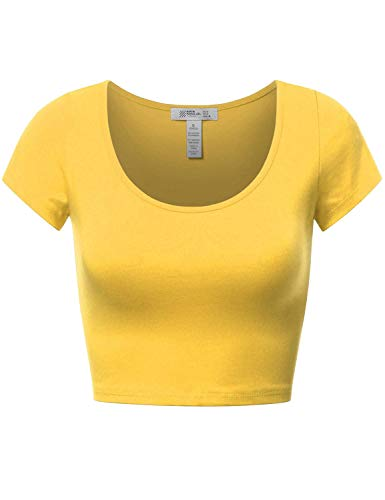 Fifth Parallel Threads Basic Short Sleeve Crop Top April Yellow L