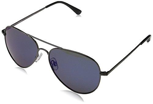 Polaroid Sunglasses P4139s Polarized Aviator Sunglasses, Dark Blue Mirror, 58 ()