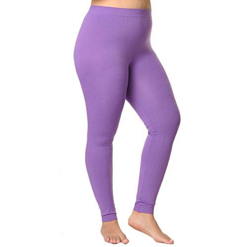 Angelina Women's Full-Length Seamless Leggings #1011Q_Purple , Queen -