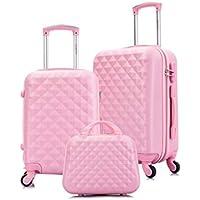 Kit mala de viagem P e M + Frasqueira Seanite 14268 Rosa Claro