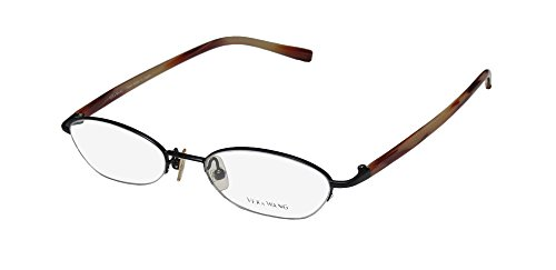 Vera Wang V138 Womens/Ladies Designer Half-rim Eyeglasses/Glasses (48-17-135, Matte Black / Red - Rimless Frames Top Eyeglass