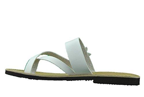 Sandali ciabatte donna open toe bianco in cuoio made in Italy