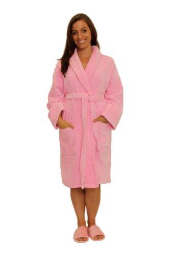 Womens Robe Mens Robe Velour Terry Shawl Cotton Bathrobe, LARGE XLARGE, PINK Cotton Terry Velour Shawl