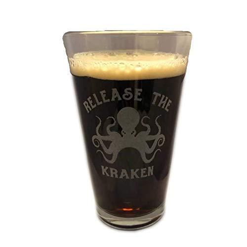 RELEASE THE KRAKEN Octopus Beer Pint Glass Engraved Lets Get Voter Fraud Gift Trump Sidney Powell Funny
