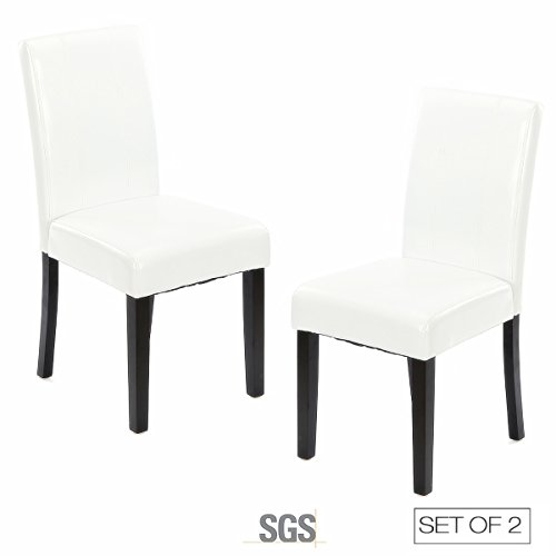 ZXBSWELE Set of 2 Parson Chair with Solid Wood Leg for Dining Room, Living Room, Kitchen, Leatherette, White (Living White Room Set)