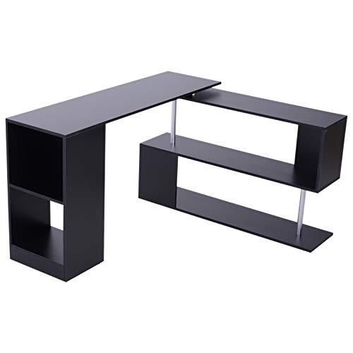 - HOMCOM Modern L Shaped Rotating Computer Desk with Shelves - Black