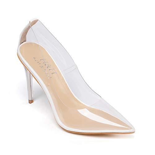 Hell&Heel Clear Stiletto Court Shoes White US 7