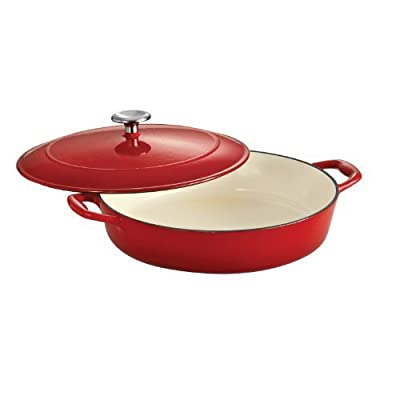 Tramontina Enameled Cast Iron Covered Braiser, 4-Quart, Gradated Red by Tramontina