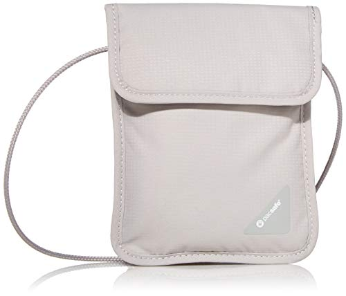 31U1ZOm0R7L - Pacsafe Coversafe X75 Anti-Theft RFID Blocking Neck Pouch, Neutral Grey
