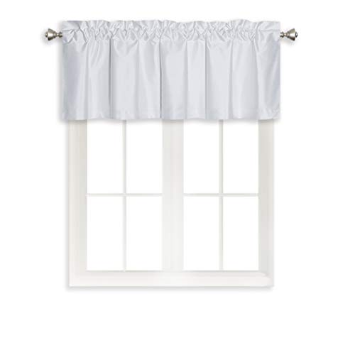 Solid Rod Pocket Blackout Curtain Valance Window Treatment for Living Room, Short Straight Drape Valance, 2 Pieces, 52 X 18 Inch, White
