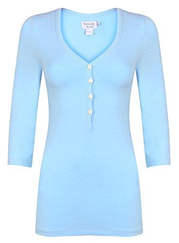 Henley Shirt Powder Blue L - (L, Blue) (Powder Blue Shirt)