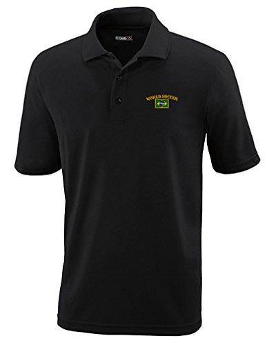 Brazil World Soccer Flag Embroidery Polyester Performance Polo Shirt Black - Shirts Brazil Football