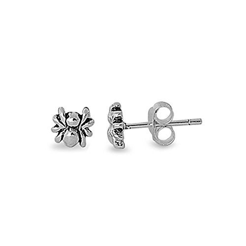 [.925 Sterling Silver Small Spider Stud Earrings for Kids] (Spider Gem Earrings Child)