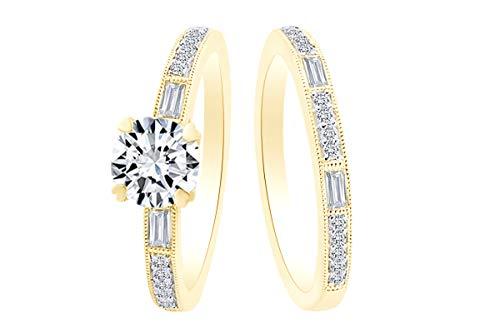 0.35 Carat Round Shape White Natural Diamond Semi Mount Wedding Band Ring 18K Solid Yellow Gold Ring Size-10