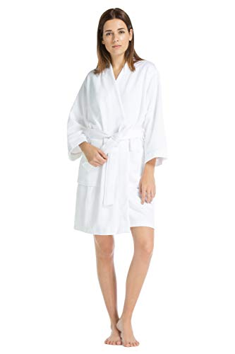 - Fishers Finery Women's Waffle Kimono Spa Robe; Above Knee Length (XS) White