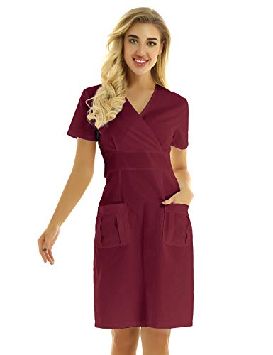 renvena Women's Adults Nurse Uniforms Dress Scrub Lab Coat Medical Doctor Scientists Cosplay Costumes