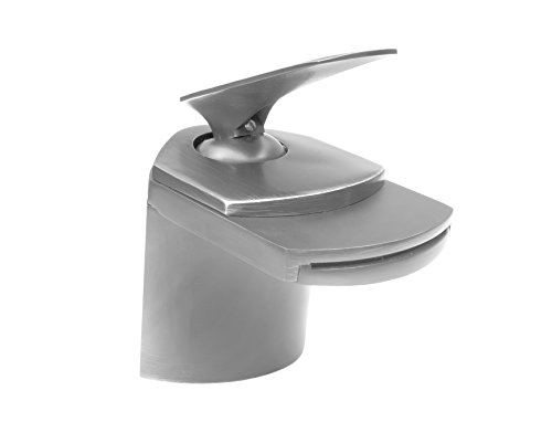 Novatto WAVE Single Lever Waterfall Lav Faucet, Brushed Nickel - Waterfall Collection Single Handle
