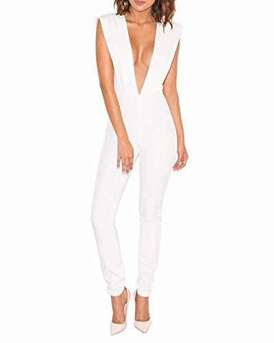 Whoinshop Women's Sexy Deep V Neck Jumpsuit Stretch Bodycon Party Romper Pants White M